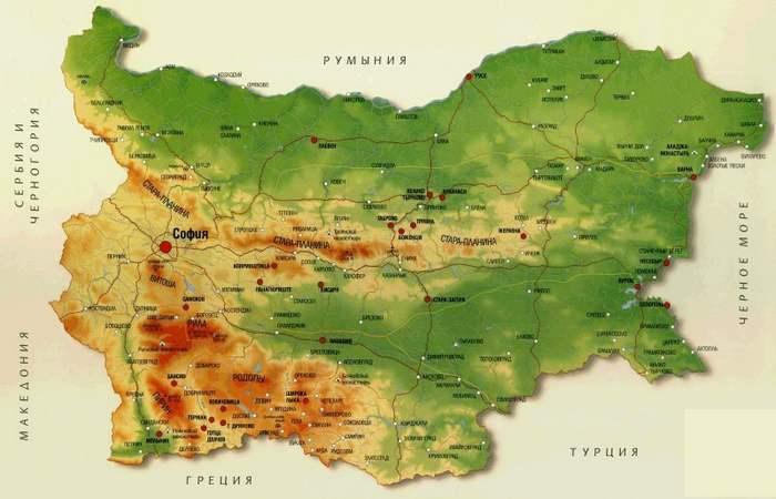 Болгария рельефная карта