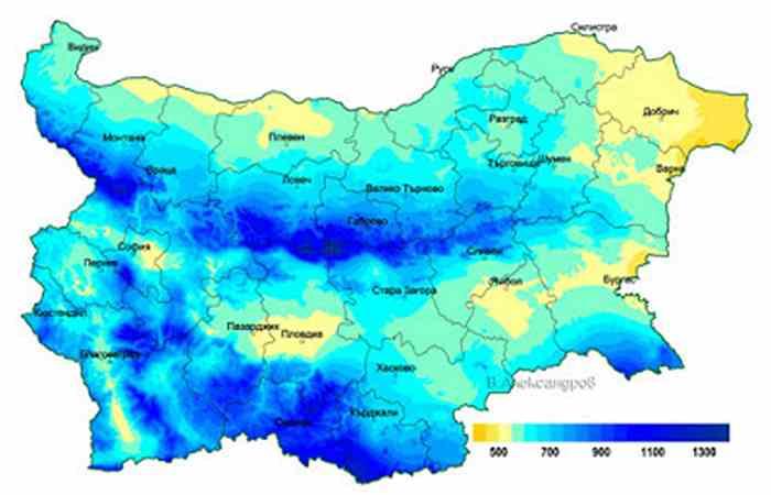 Годовое количество осадков погода в Болгарии