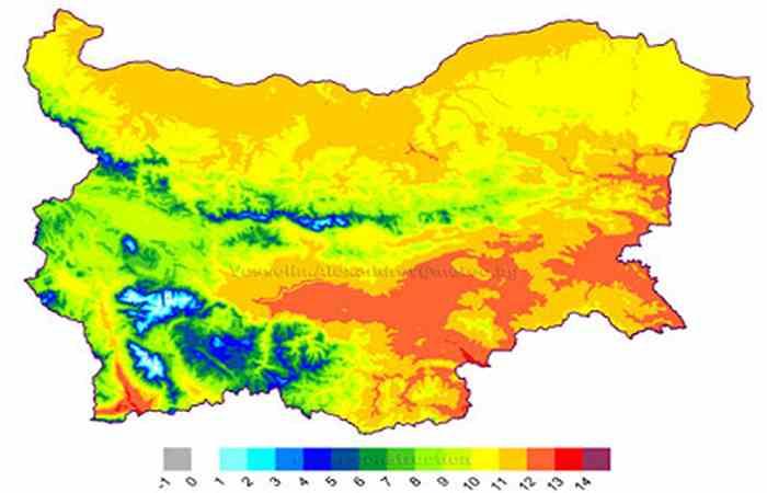 Среднегодовая температура воздуха в Болгарии погода в Болгарии